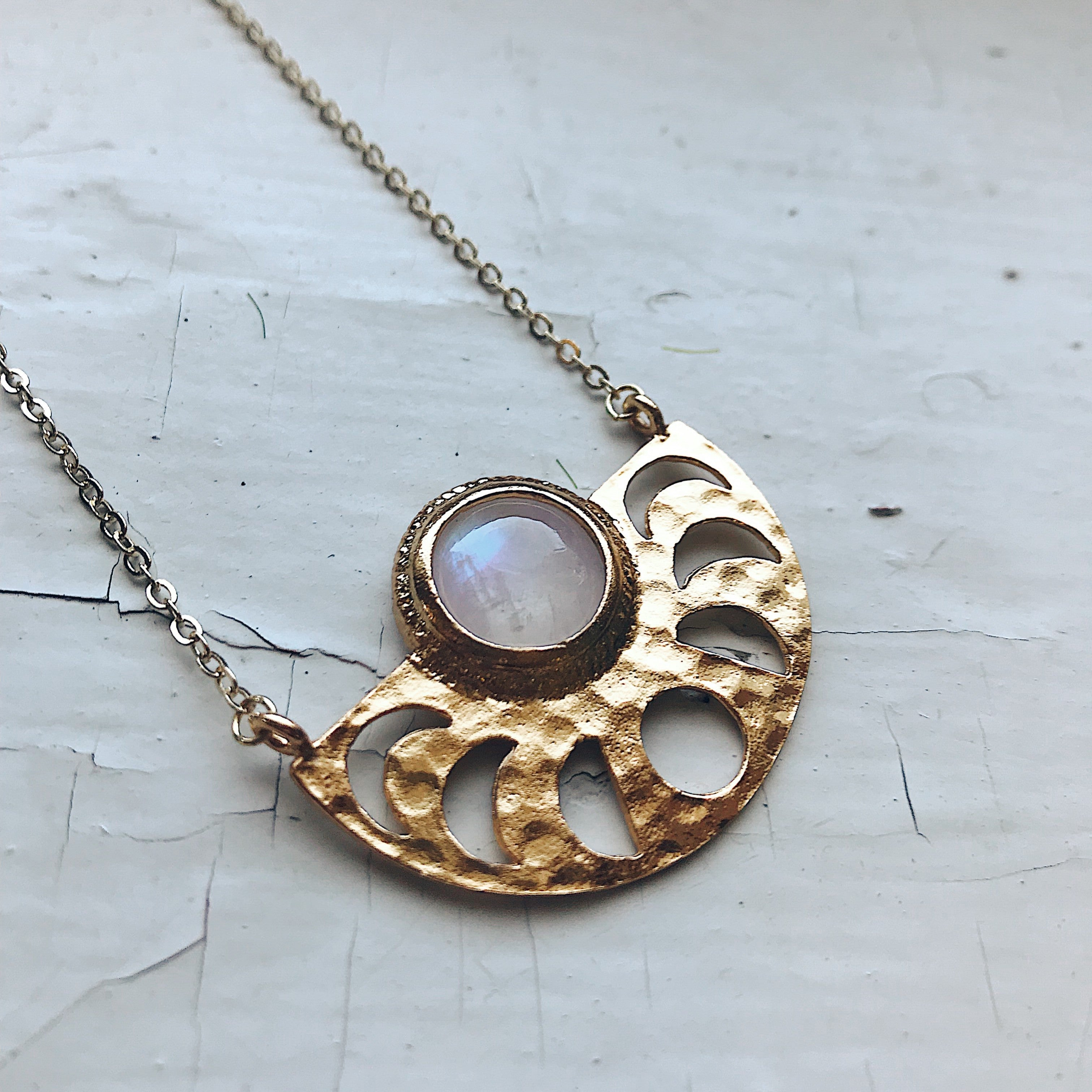 Rainbow moonstone moon phase necklace - Gold phases of the moon pendant necklace, handmade celestial jewelry, cosmos jewellery by Yugen Tribe