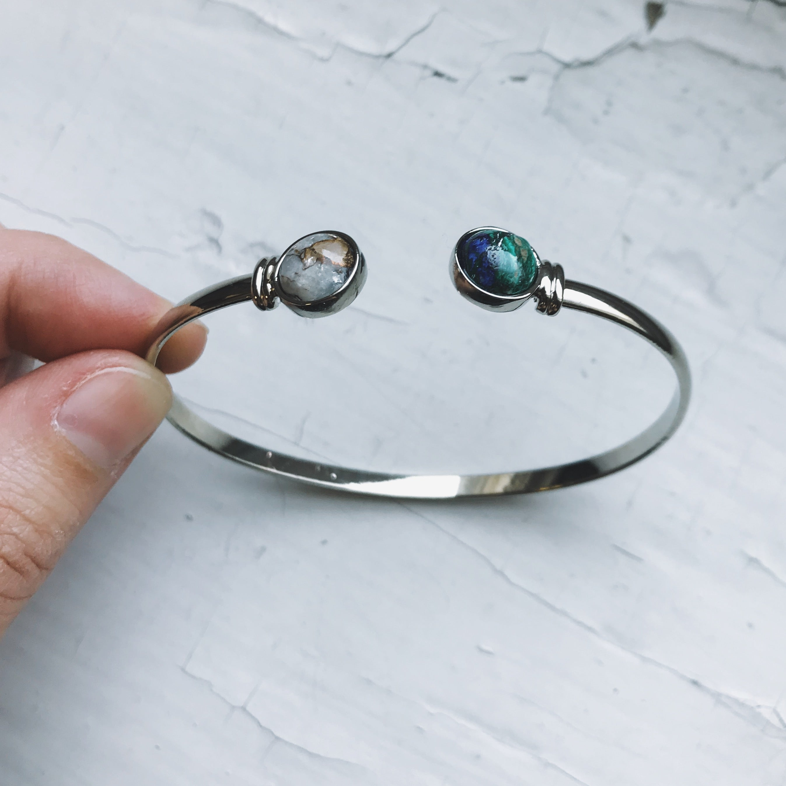 Earth and Moon Bracelet - Cuff Bangle Celestial Jewelry, Galaxy Bracelet - Copper Calcite, Azurite Malachite - Outer Space Planet Jewelry with Natural Stones by Yugen Tribe