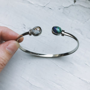 Earth and Moon Cuff Bracelet with Natural Stones - Yugen Tribe