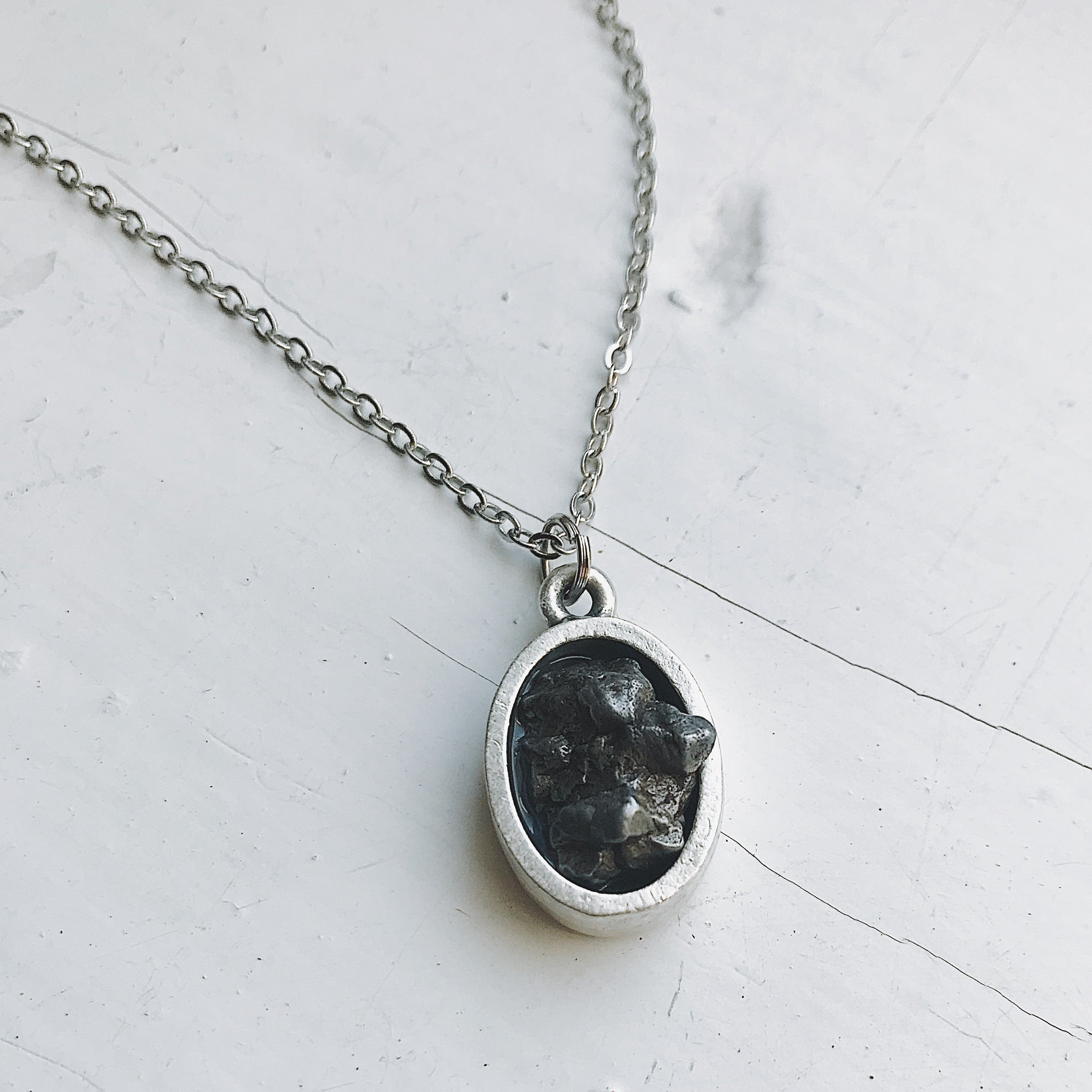 Oval Raw Meteorite Pendant Necklace in Matte Brushed Silver - Yugen Tribe