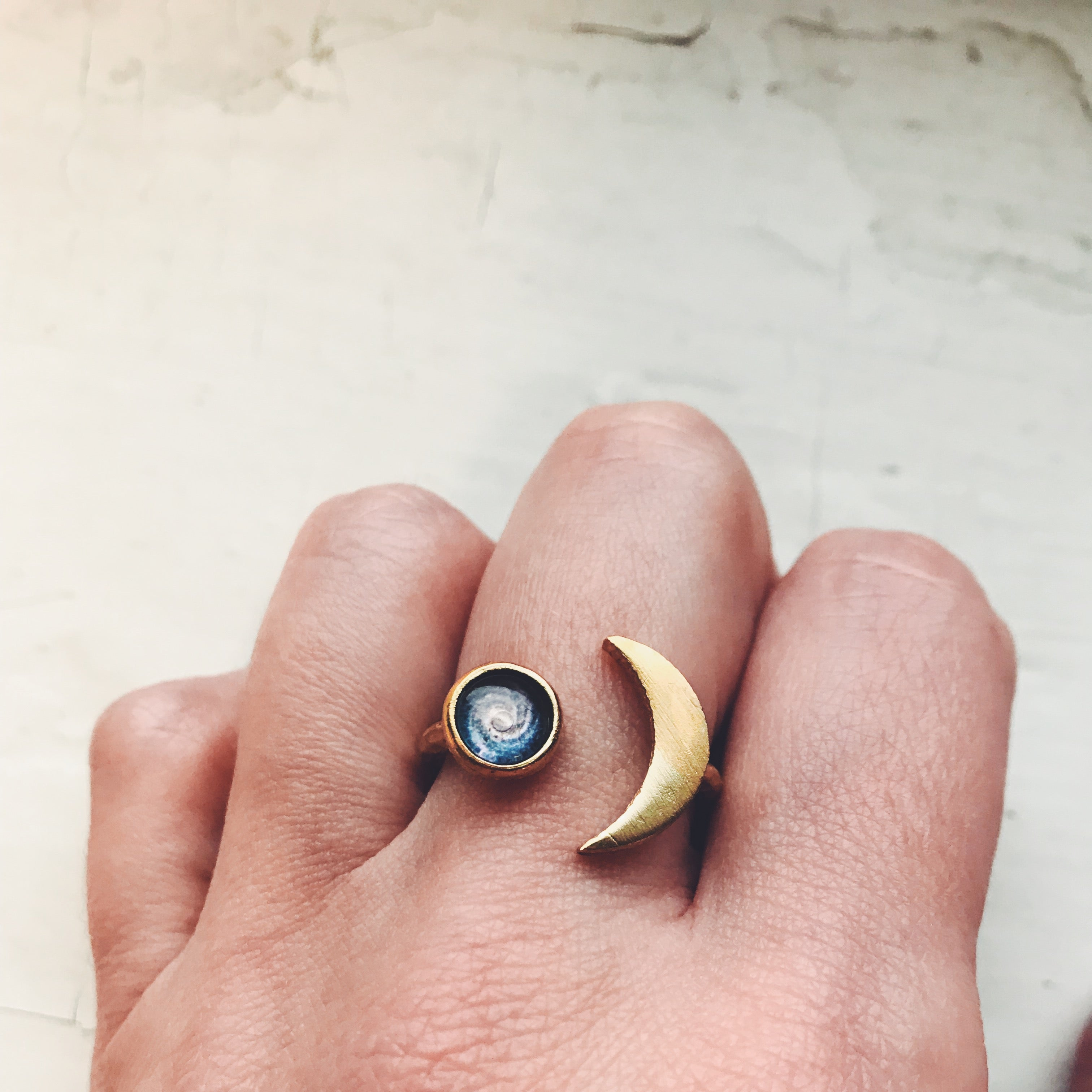 Adjustable crescent moon shaped ring in gold or silver with galaxy image of your choice - Choose your nebula, planet, moon, sun - Unique statement outer space jewelry, handmade by Yugen Tribe