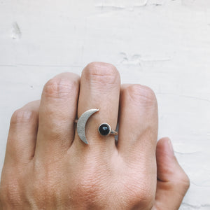 Crescent Moon Shaped Ring with Black Onyx - Handmade celestial jewelry by Yugen Tribe - Jewellery Inspired by the Cosmos