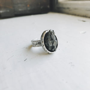 Raw Meteorite Oval Ring, Silver Adjustable Hammered Ring with Meteorite - Chunk of Raw Meteor in Simple Ring, Silver Bezel Outer Space Ring - Meteorite Specimen Ring by Yugen Tribe, Cosmic Celestial Jewelry