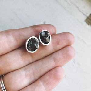 Raw Meteorite Stud Earrings - Chunks of Raw Meteor in Post Earrings, Silver Bezel Outer Space Earrings - Meteorite Specimen Earrings by Yugen Tribe, Cosmic Celestial Jewelry