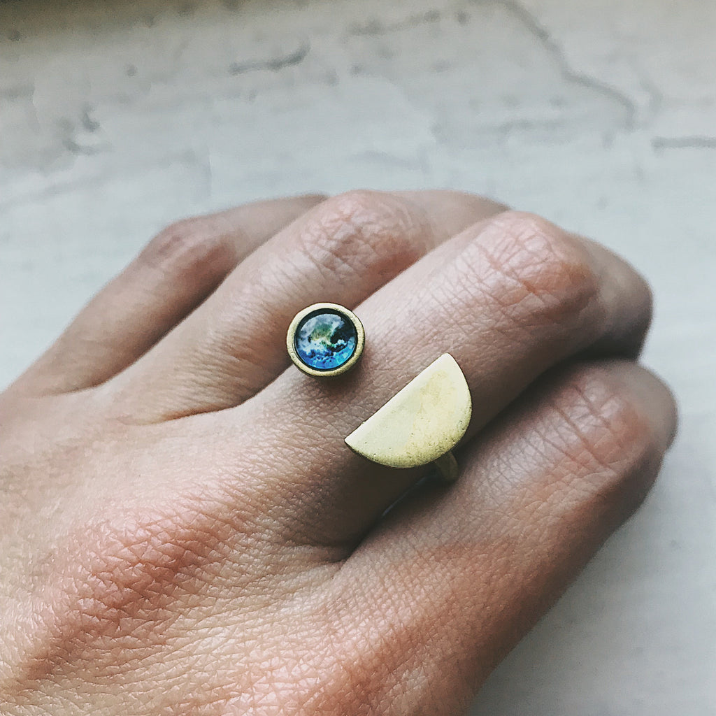 Earthrise Ring - Earth Rise Ring, Apollo 8 Jewelry - Space Exploration Cosmos Cosmic Galaxy Jewellery handmade ring by Yugen Tribe