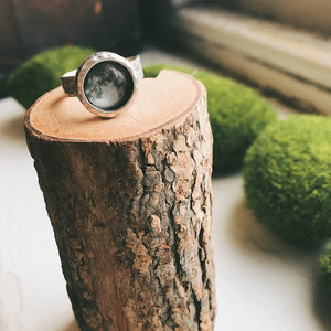 Hammered silver ring with outer space image - choose your planet, nebula, moon, sun, galaxy - STEM fashion handmade jewelry by Yugen Tribe shown with moon