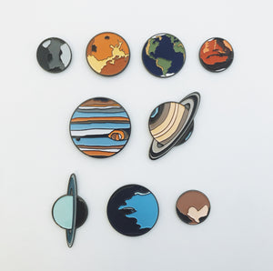 Planetary Enamel Pins, Lapel Pin, Brooch, Unisex Outer Space Gift - Solar System Enamel Pins by Yugen Tribe, Original Illustrations