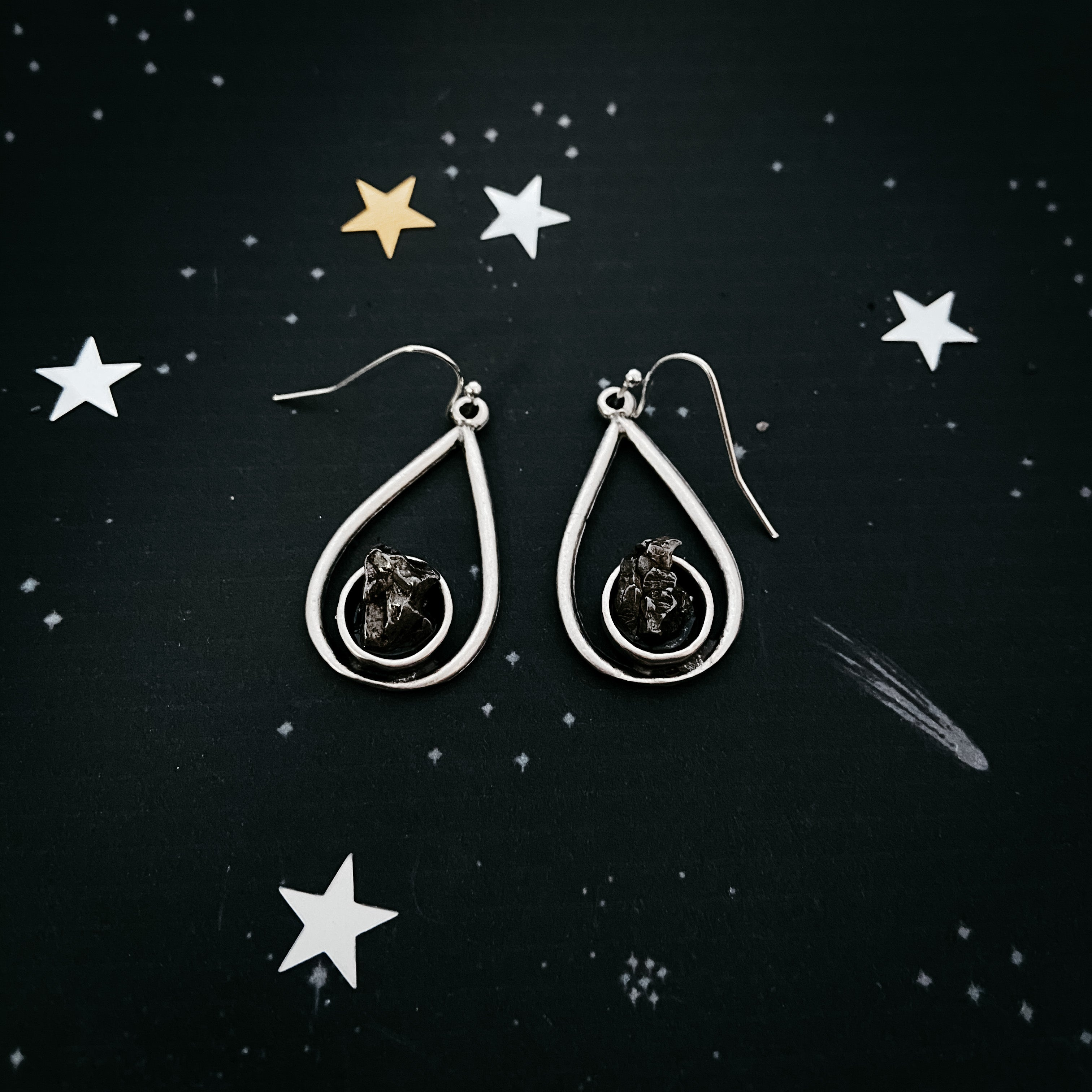 Teardrop Earrings with Raw Meteorite