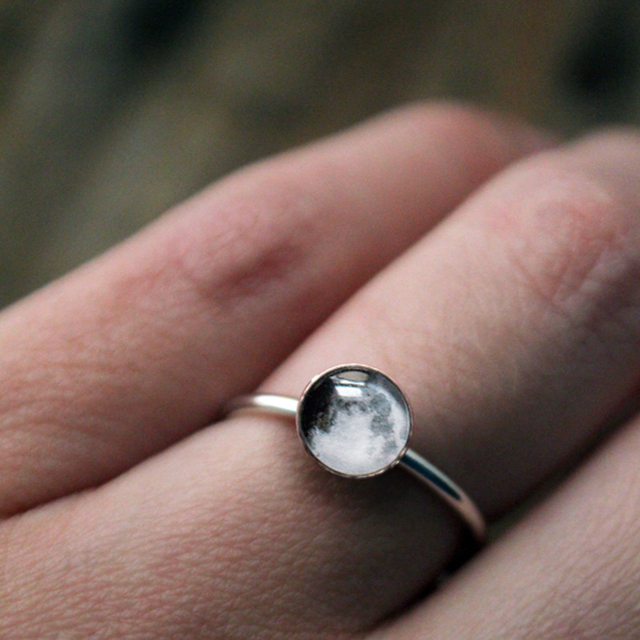 Personalized Birth Moon Ring in Sterling Silver - Made to order in US ring sizes using moon phase from date provided - Handmade custom moon phase jewelry by Yugen Tribe