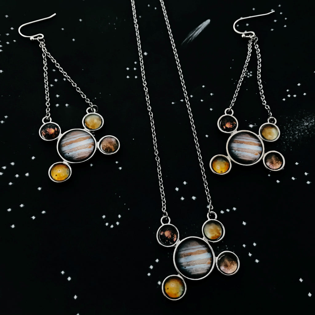 Jupiter Jewelry Gift Set - Galilean Moons Earrings and Necklace - Yugen Tribe