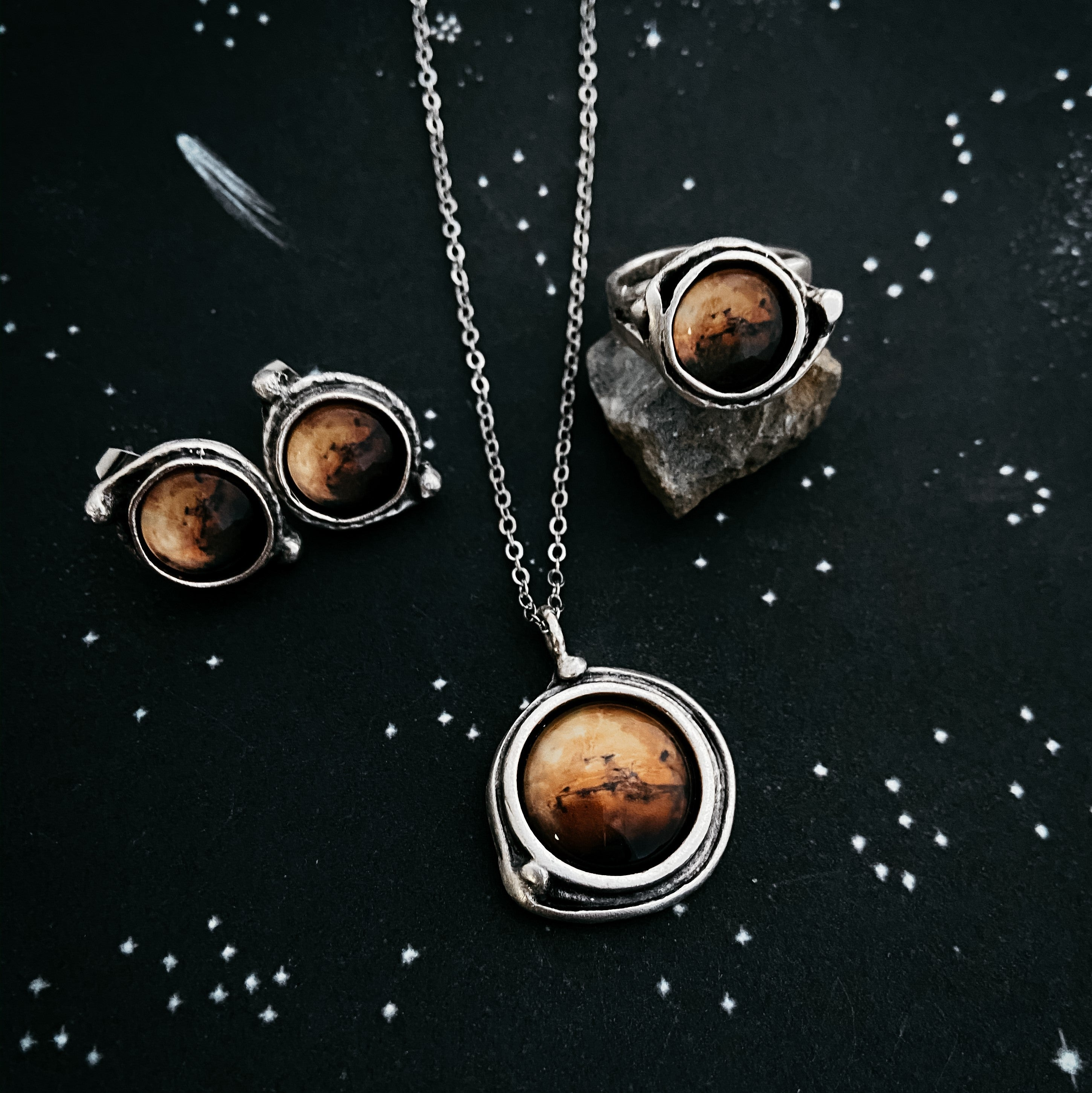 Mars Jewelry Gift Set - Necklace, Earrings, and Ring - Yugen Tribe