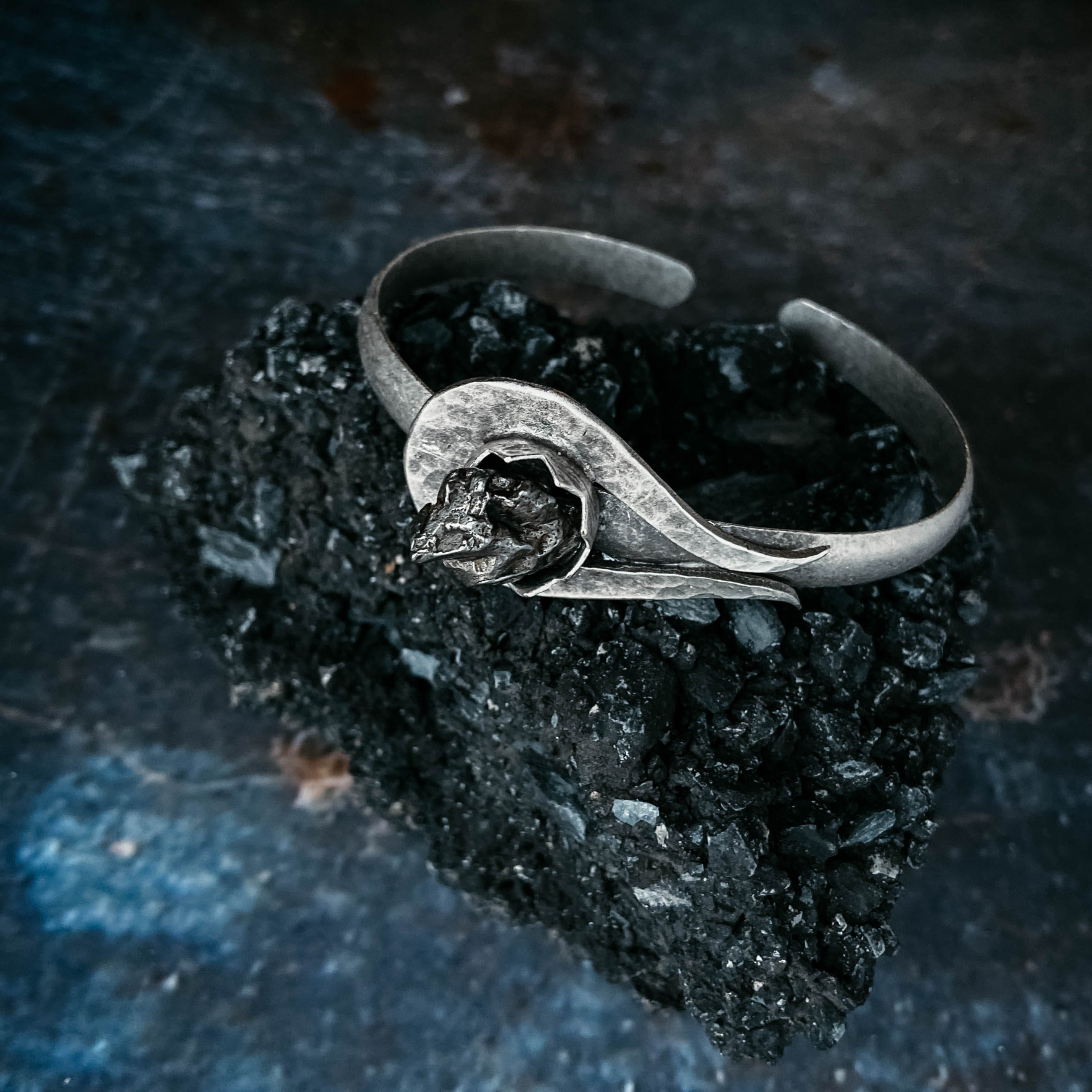 Meteorite cuff bracelet - shooting star comet jewelry with authentic meteorite by Yugen Tribe