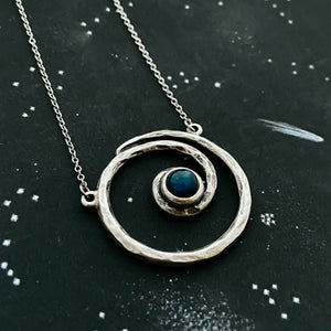 Milky way necklace - Organic hammered spiral pendant with labradorite - celestial jewelry by Yugen Tribe