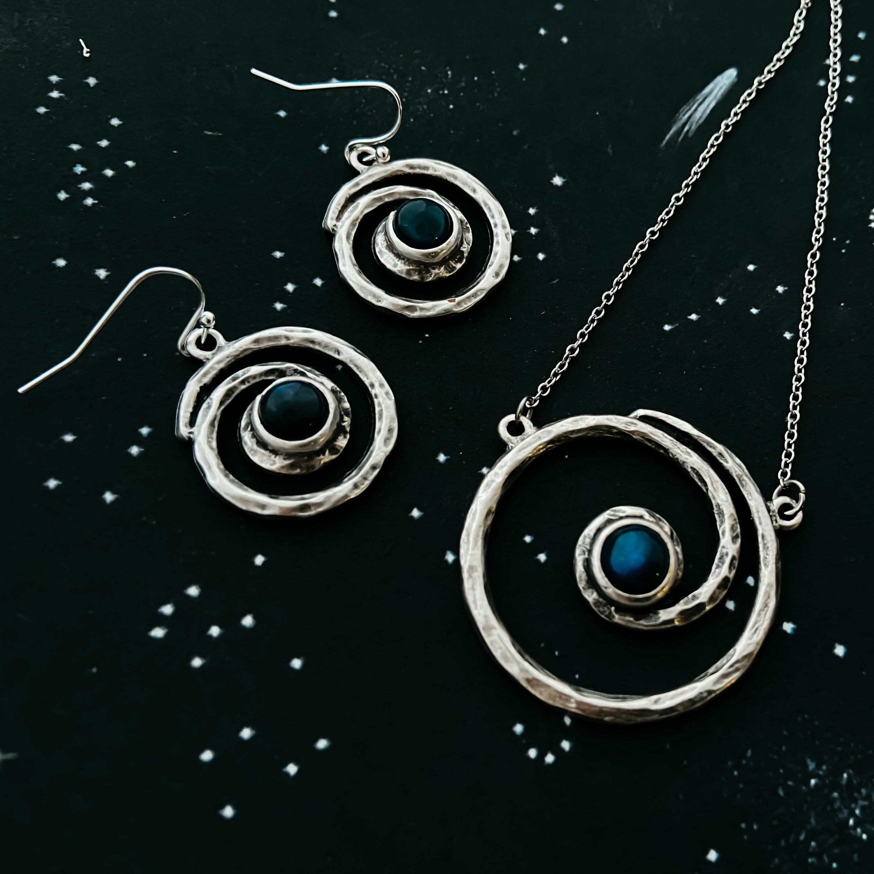 Milky way jewelry set - spiral silver hammered necklace and earrings with labradorite by Yugen Tribe