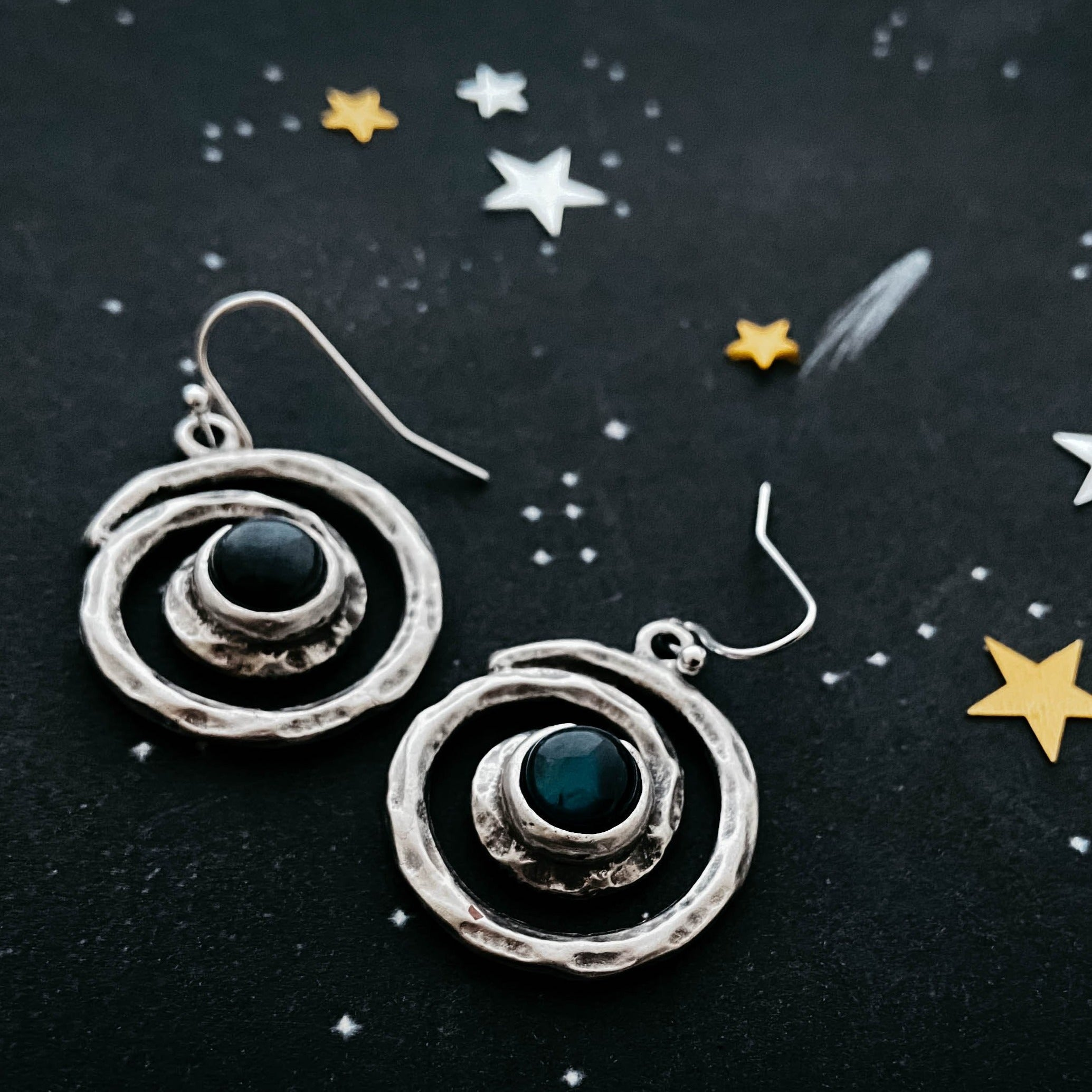 Milky way earrings - Organic hammered spiral dangle earrings with labradorite - celestial jewelry by Yugen Tribe