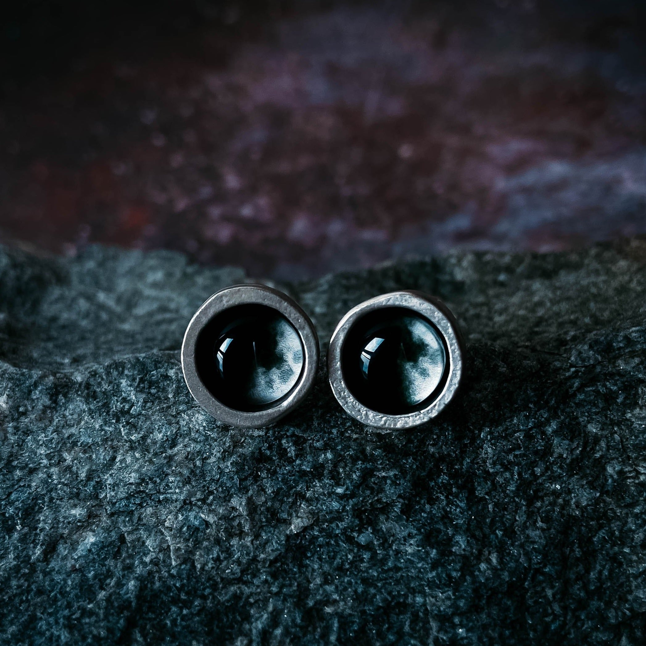 Chunky silver custom moon phase stud earrings