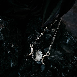 Personalized Moon Date Necklace with Two Small Silver Crescent Moons Flanking Custom Moon Phase by Yugen