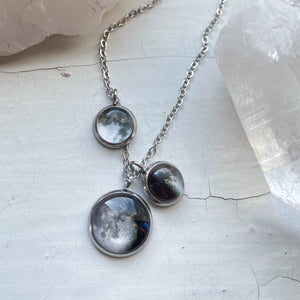 My Moon Family Layered Necklace with Clustered Pendants - Custom Birthday Moon Jewelry by Yugen Tribe