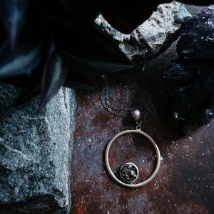 Circle Pendant in Silver with Raw Meteorite - Unique celestial handcrafted jewelry by Yugen Tribe with Genuine Meteorite