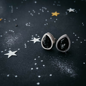 Thick bezel stud earrings, pear shaped teardrop posts with authentic campo del cielo meteorite, handcrafted by Yugen