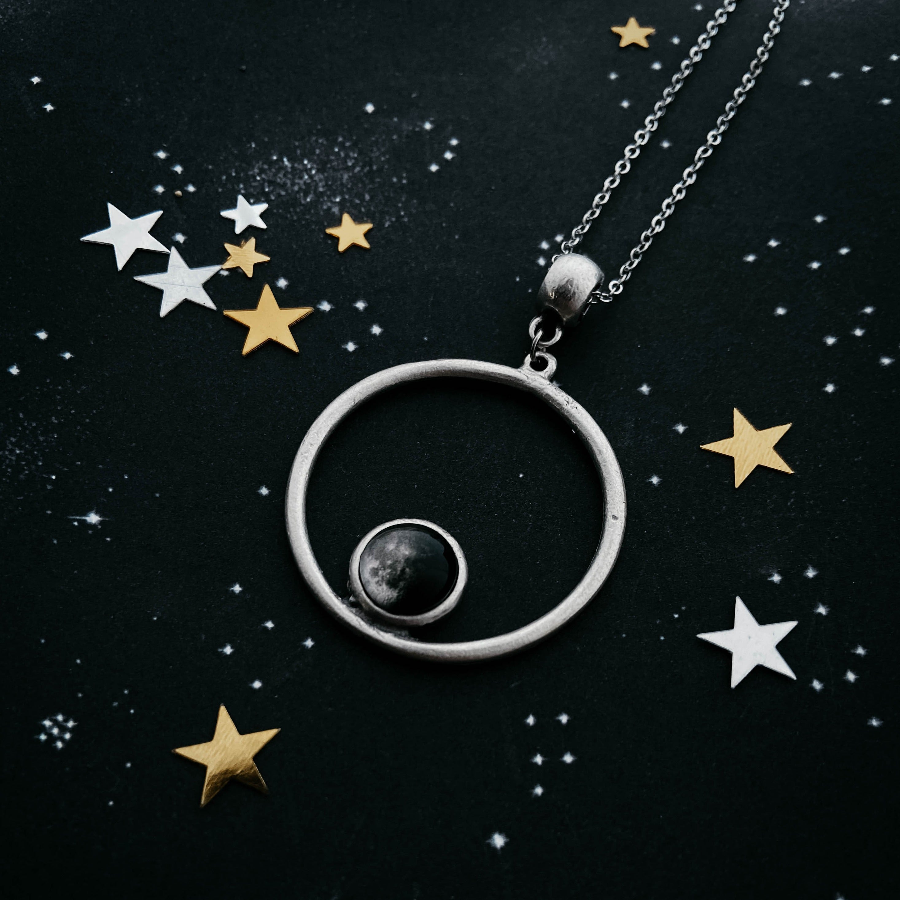 Custom Moon Phase Necklace - Circle Silver Matte Brushed Pendant with Custom Phase of the Moon - Moonglow Yugen Handmade
