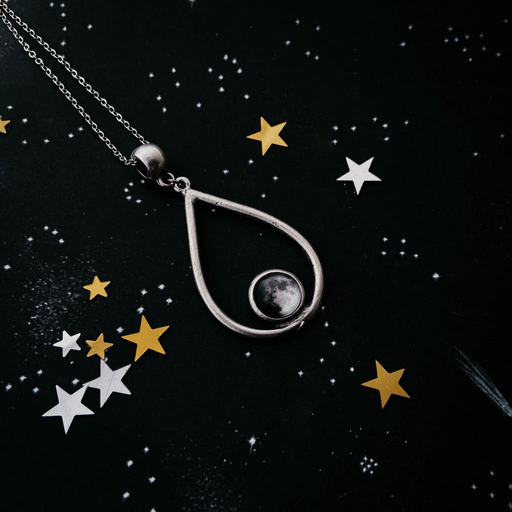 Teardrop shaped custom moon phase pendant necklace - Cosmic jewelry by Yugen Tribe