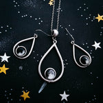 Teardrop shaped custom moon phase dangle chandelier earrings and necklace - Cosmic jewelry gift set by Yugen Tribe