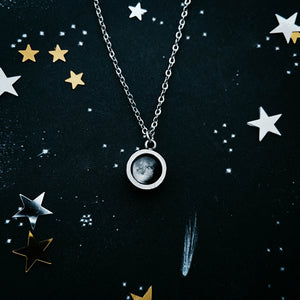 Custom moon phase round circle pendant in silver with thick bezel walls