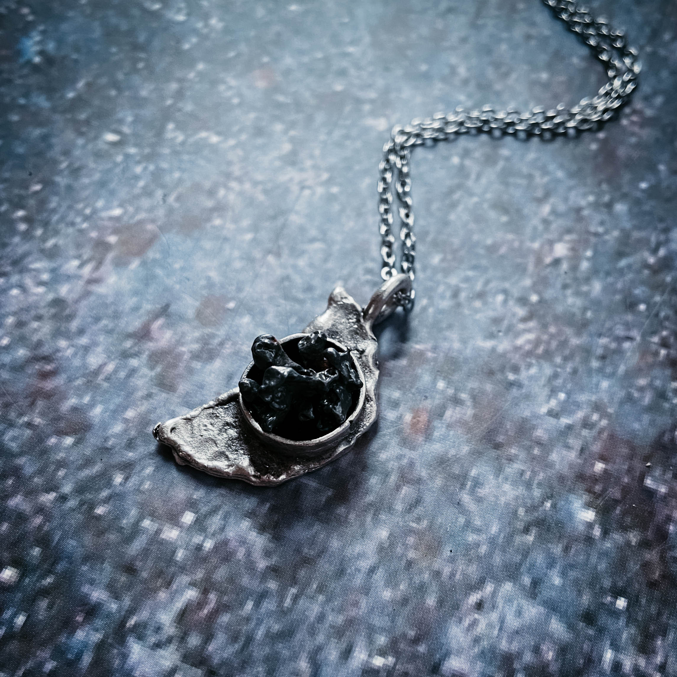 Crescent Moon Necklace with Authentic Meteorite