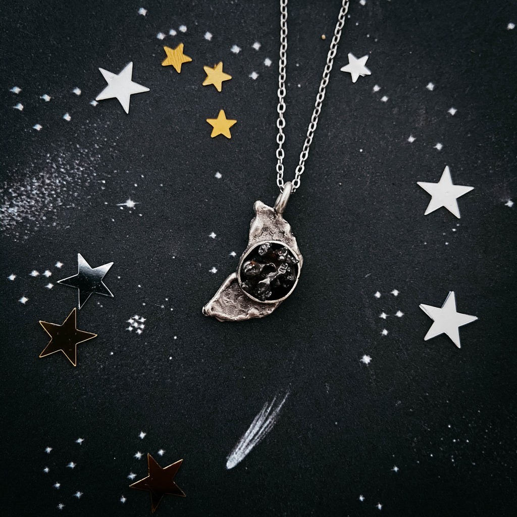 Crescent moon shaped hammered silver necklace set with rough genuine authentic campo del cielo meteorite - handcrafted celestial jewelry by Yugen Tribe