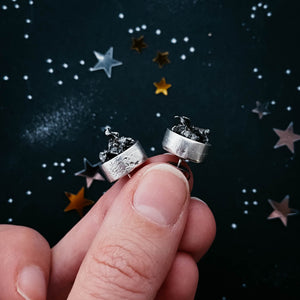 Unique authentic meteorite jewelry - stud post or dangle meteorite earrings, handmade by Yugen