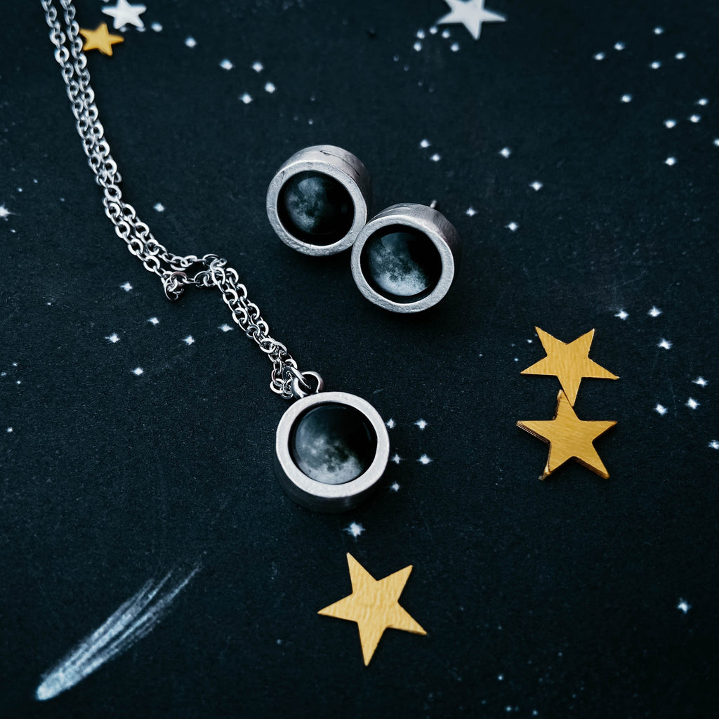 Custom moon phase earring and necklace jewelry gift set by Yugen Tribe