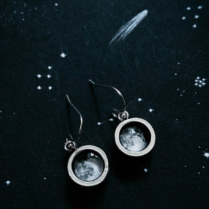 Chunky silver custom moon phase dangle earrings