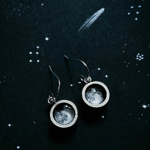 Custom moon phase round chunky thick wall bezel dangle earrings