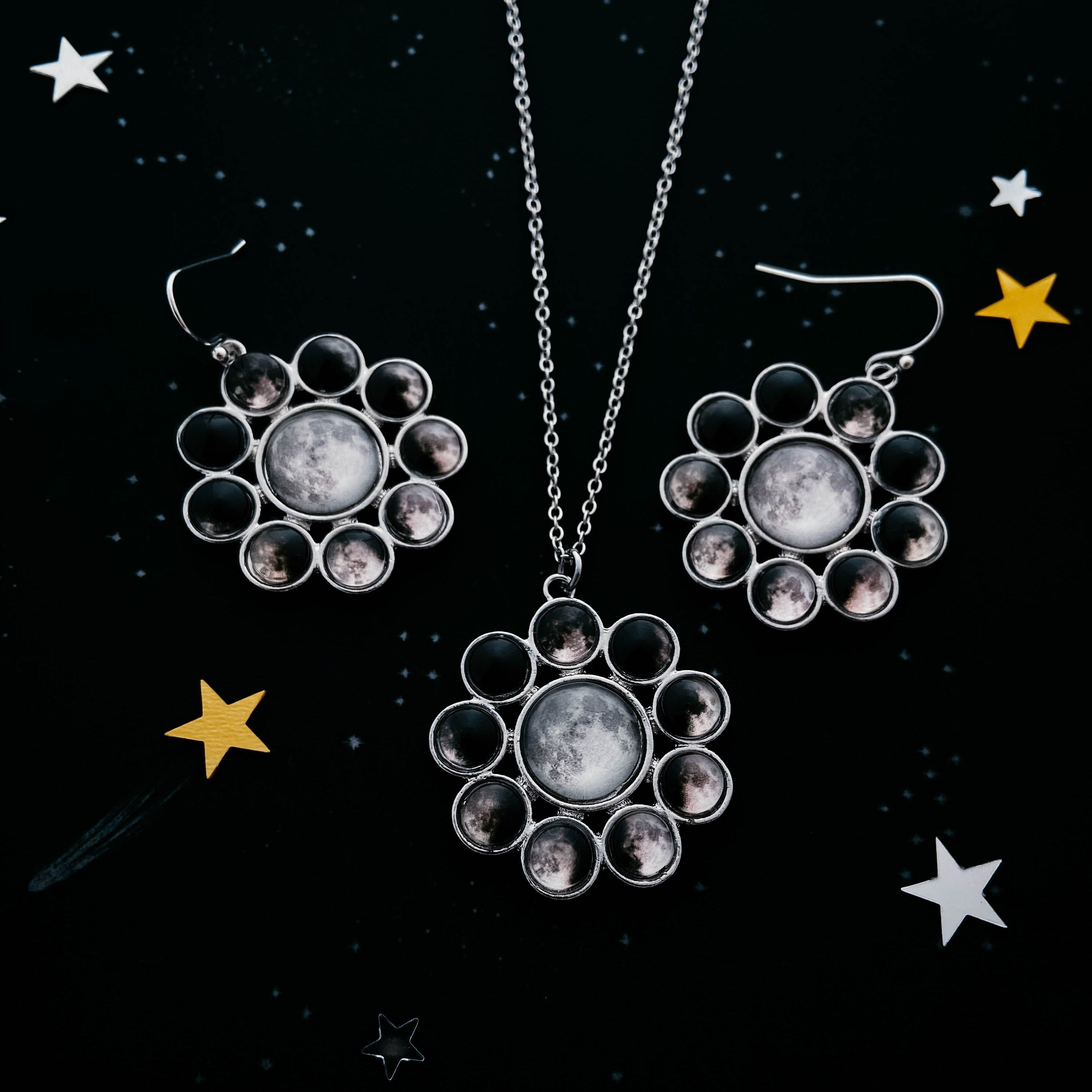 Halo style moon phase jewelry gift set - Full Moon celestial jewelry handcrafted by Yugen Tribe