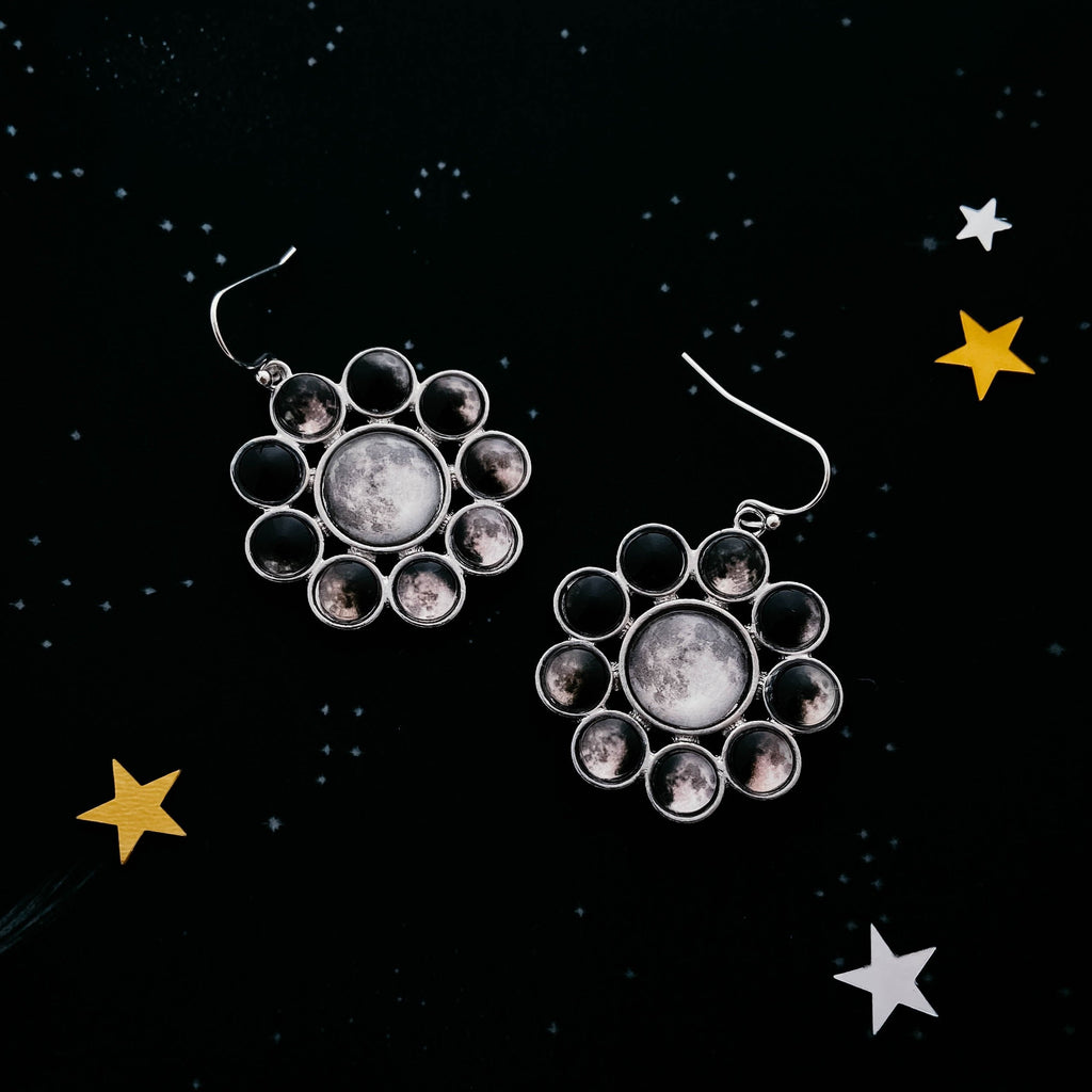 Dangle chandelier earrings with phases of the moon, lunar phase jewelry by Yugen Tribe
