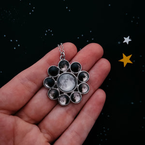 Phases of the moon pendant necklace, halo style, silver celestial jewelry by Yugen Tribe