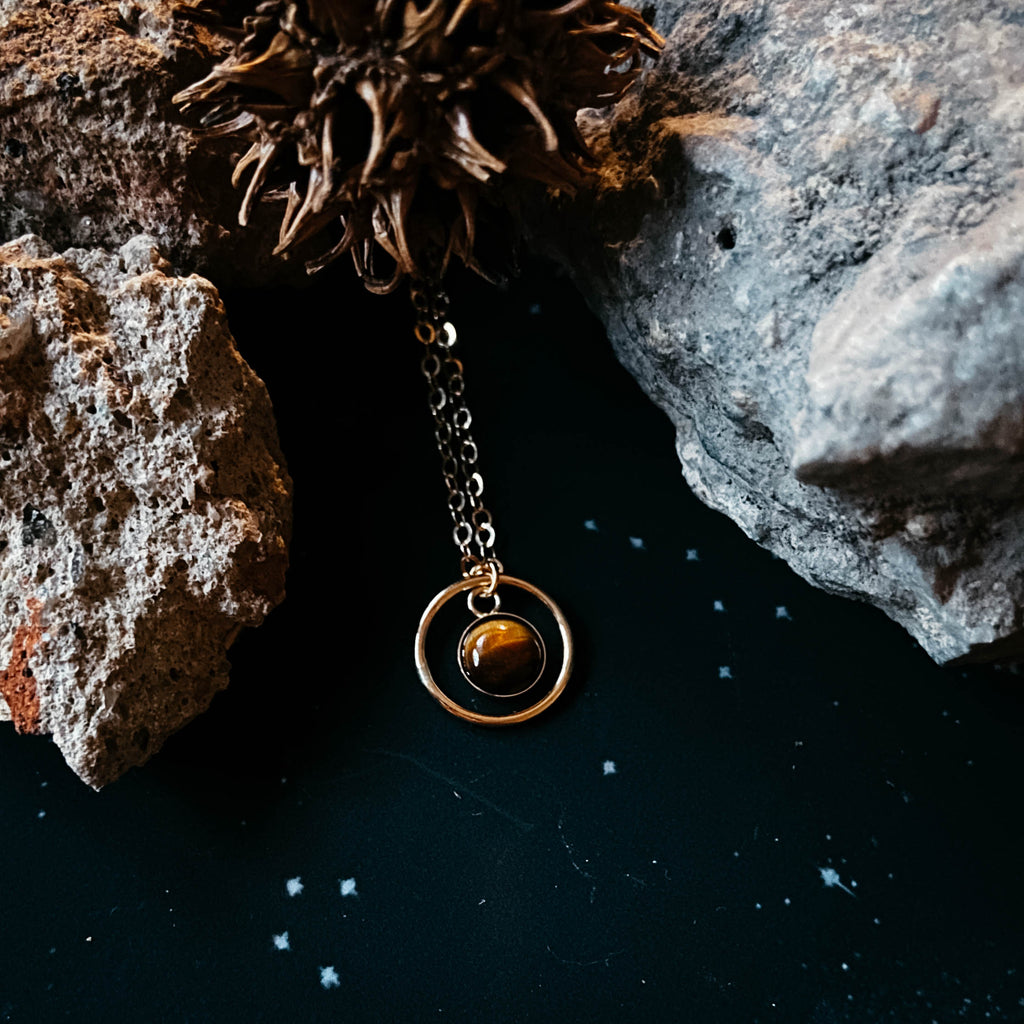 Rings of Saturn Pendant in 14k Gold with Natural Tiger Eye Stone - Celestial Handmade Jewelry by Yugen