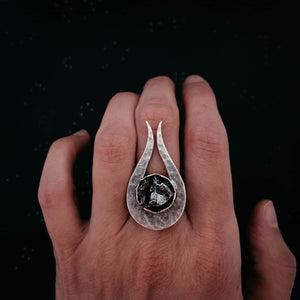 Comet Ring with Authentic Meteorite