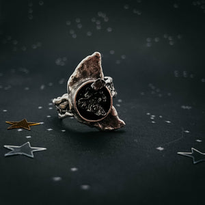 Crescent Moon Ring with Authentic Meteorite