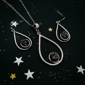 Meteorite Jewelry Set - Teardrop Necklace and Earrings