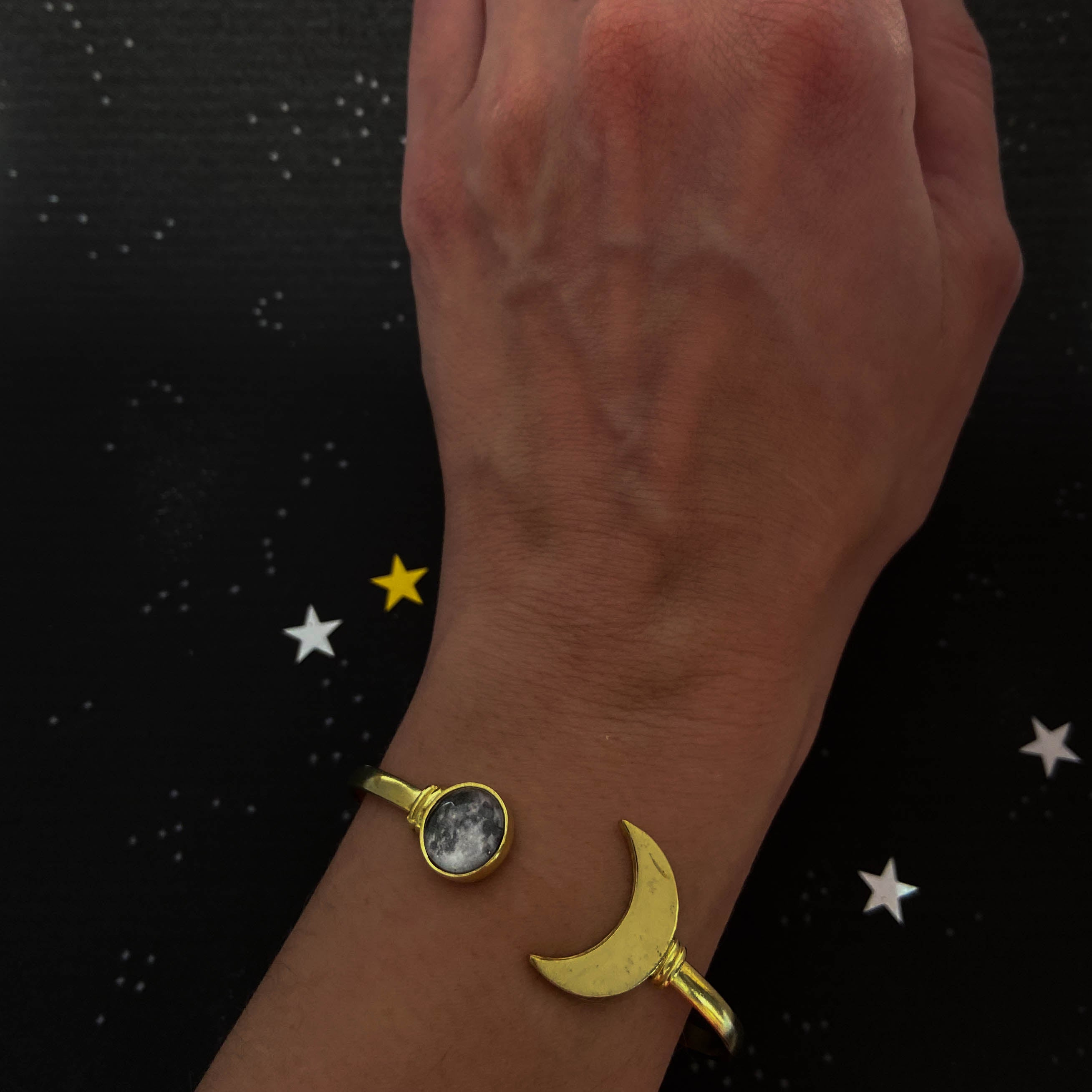 My Moon Cuff Bracelet with Lunar Crescent - Gold or Silver Tone