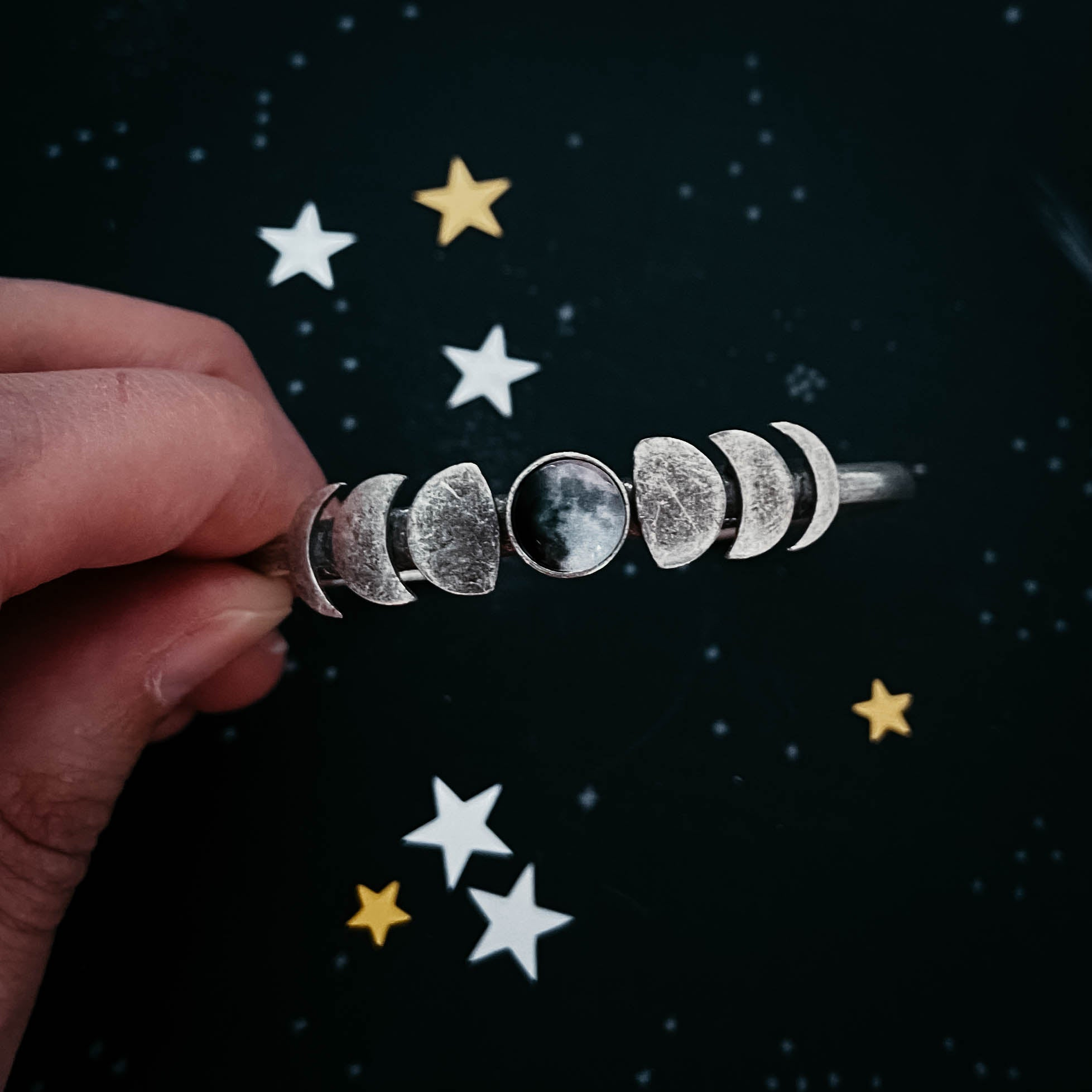 Phases of the Moon Bracelet with Custom Moon from Personal Date - Personalized Lunar Phase Jewelry, Moonglow, Yugen Tribe, Yugen Handmade