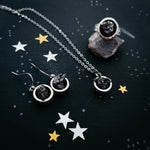 Small chunky round organic raw authentic campo del cielo meteorite jewelry set - celestial jewelry gifts for under 100, handcrafted by yugen