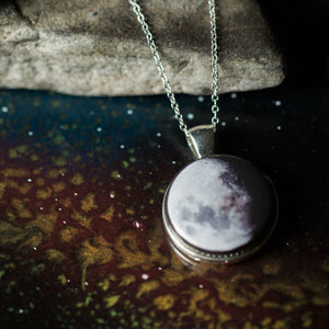 Custom moon phase large pendant - necklace with personalized moons from birthday, anniversary, wedding, memorial, special occasion - handmade new age jewelry by yugen tribe in silver