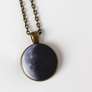 Custom moon phase large pendant - necklace with personalized moons from birthday, anniversary, wedding, memorial, special occasion - handmade new age jewelry by yugen tribe in bronze