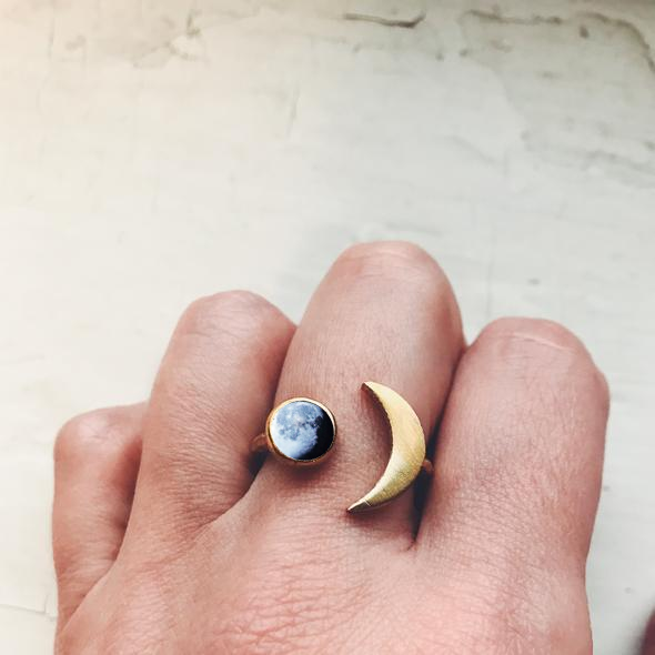 Crescent Moon Shaped Ring with Birth Moon - Anniversary Moon, Custom Moon Date Jewelry, Celestial Lunar Phase Jewelry by Yugen Tribe