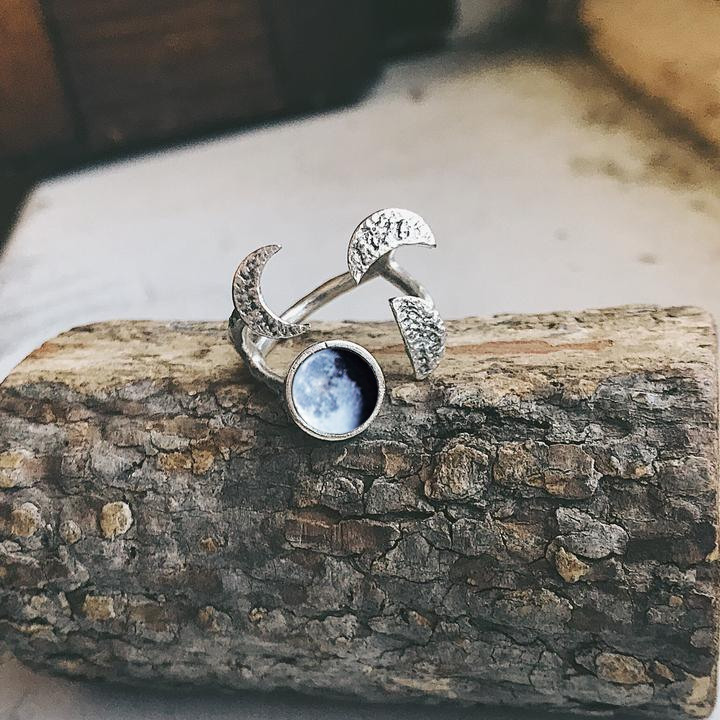 My Moon Sculptural Custom Lunar Phase Ring - Yugen Tribe