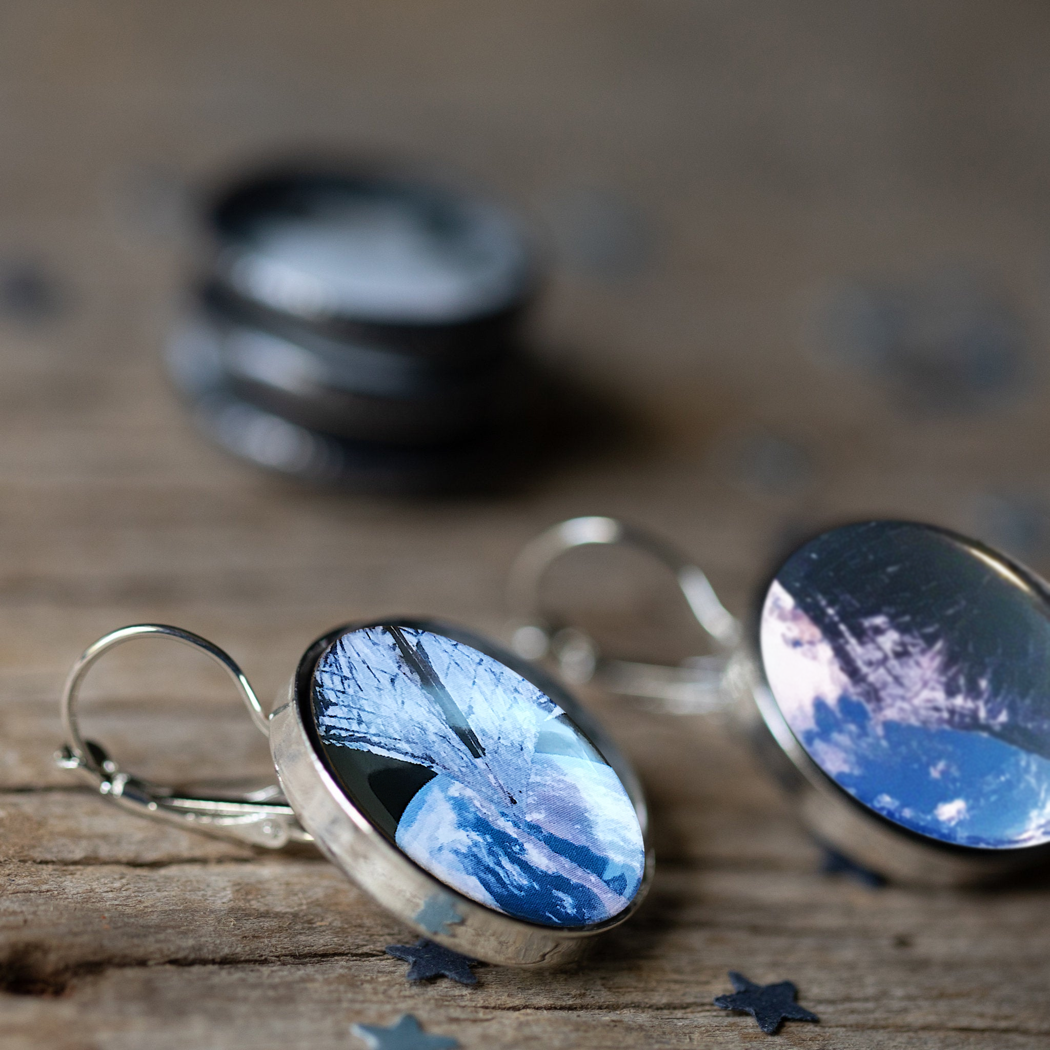 LightSail Earrings - The Planetary Jewelry by Yugen Tribe - Space Exploration, Outer Space, Earth, Galaxy Earrings