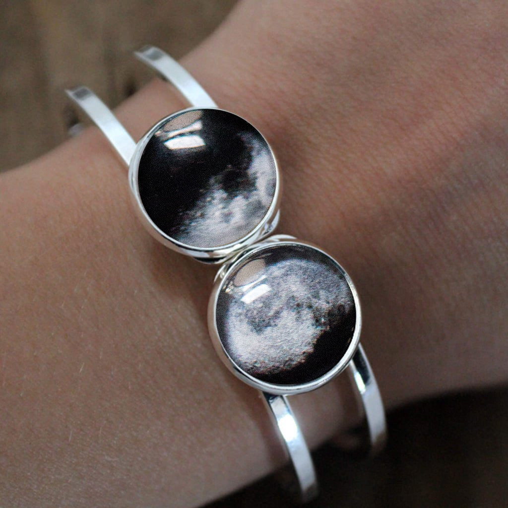 Modeled 2 Moon Bracelet - Custom Moon Phase from Specific Date, Birthday, Anniversary, Memorial - Mothers Day Gift for Mom of Twins - Two Children, Gift for Wife, 2 Moon dates - Handmade lunar phase galaxy jewelry by Yugen Tribe